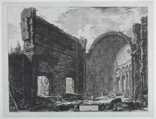 Ruins of a Classical building with an apse.  Interior of praetorian castle, with scattered small-scale figures.  At left, is a section of a high wall with two arched doorways.  At right, a curved wall with seven niches surmounted by a half-dome (the apse).  Etched in the cartouche: Avanzi di una Sala appar / tenente al Casto Pretorio nel / la Villa Adriana in Tivoli / A. Tribunale ornato di nicchie, and signed on the plate at lower left: Cvalier Piranesi F.