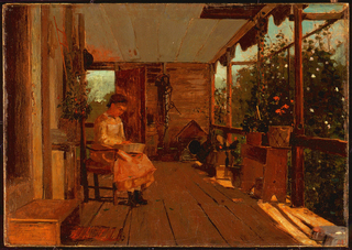 Horizontal view of a porch with a girl, facing right and looking down at bowl held in her lap, seated at left middle ground; at right middle ground outside edge of porch filled with boxes, dog house, bench covered with plants etc. is visible.  A door behind her in far wall gives a view of the distant sky in background.
