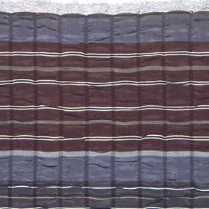 Narrow kimono fabric with broad bands in gray, maroon and blue. Each band has thin stripes in white, dark blue, yellow, and pink. Crepe effect by means of close-set horizontal narrow bands of tight-ribbed weave.