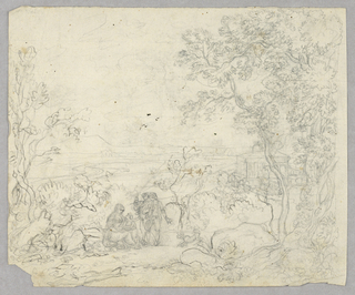 Figures of a seated woman, a child and two standing men in a landscape surrounded by rocks and trees. A structure visible through the trees at right.