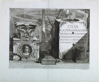 "Collection of architectural and sculptural fragmets.  A capitol on a carved socle, with an inset bust, an obelisk and a base bearing the inscription: ""OSSA / AGRIPPINAE .M. AGRIPPA..."" A small tree between the obelisk and the base.  Behind, a large circular structure, at a different scale.  Below, eight line inscription.  Inscribed, lower right: Piranesi Archit. dis.et inc."