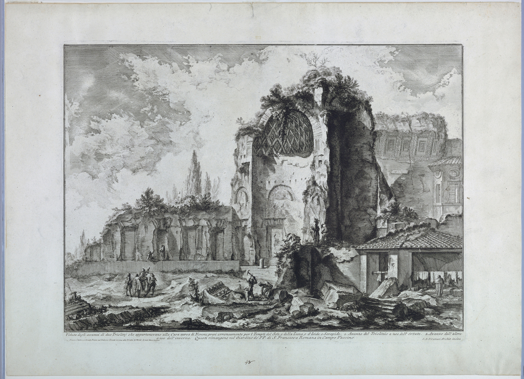 """Horizontal rectangle. In mid-distance the ruins of the Temple of Venus; the apse at the right; marble pieces in foreground. A group of figures at left. Inscribed, lower right: """"G.B. Piranesi Archt. incise""""; along lower margin: """"Veduta degli avanzi di due Tricliny ... Campo Vaccino""""; lower left: """"Presso l'autore ... Mezzo"""""""