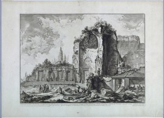 "Horizontal rectangle. In mid-distance the ruins of the Temple of Venus; the apse at the right; marble pieces in foreground. A group of figures at left. Inscribed, lower right: ""G.B. Piranesi Archt. incise""; along lower margin: ""Veduta degli avanzi di due Tricliny ... Campo Vaccino""; lower left: ""Presso l'autore ... Mezzo"""