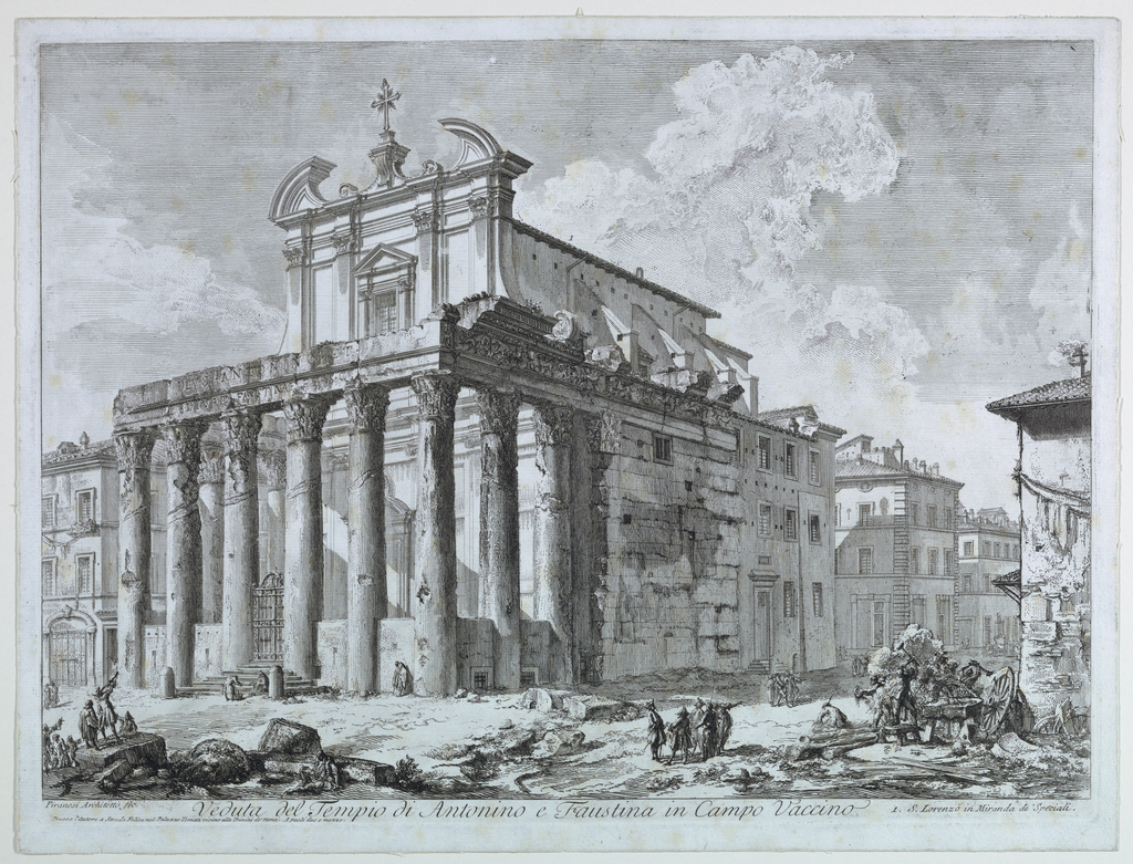 Horizontal rectangle. Perspective view of the facade of an ancient Roman Temple, with later Renaissance additions. Title below. Signed in margin, lower left.   Foxed. Foccilon, p. 54, 802. Vedute di Roma, V.II