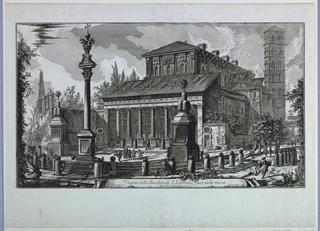 """View of the Basilica S. Lorenzo seen from the west; in the foreground are several stone monuments. Small-scale figures are in front of the church and to the right.  Inscribed on a scroll in lower center: Veduta della Basilica di S. Lorenzo fuor delle mura""""; lower left: Via Tiburtina; lower right: Piranesi F."""