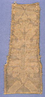 Gold colored silk fabric with the design also in gold.