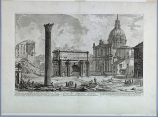"Horizontal Rectangle. Arch of Septimus Severus in center at mid-distance. Right: the church, SS Martina e Lucca; left foreground, column of PHOCAS; lower right, ""Piranesi Architetto fec.""; title, in center; text along left margin: ""Erario antic ... al campidoglio"". Lower right: ""Presso l'autore a Strada Felice...a paoli due e mezzo""."