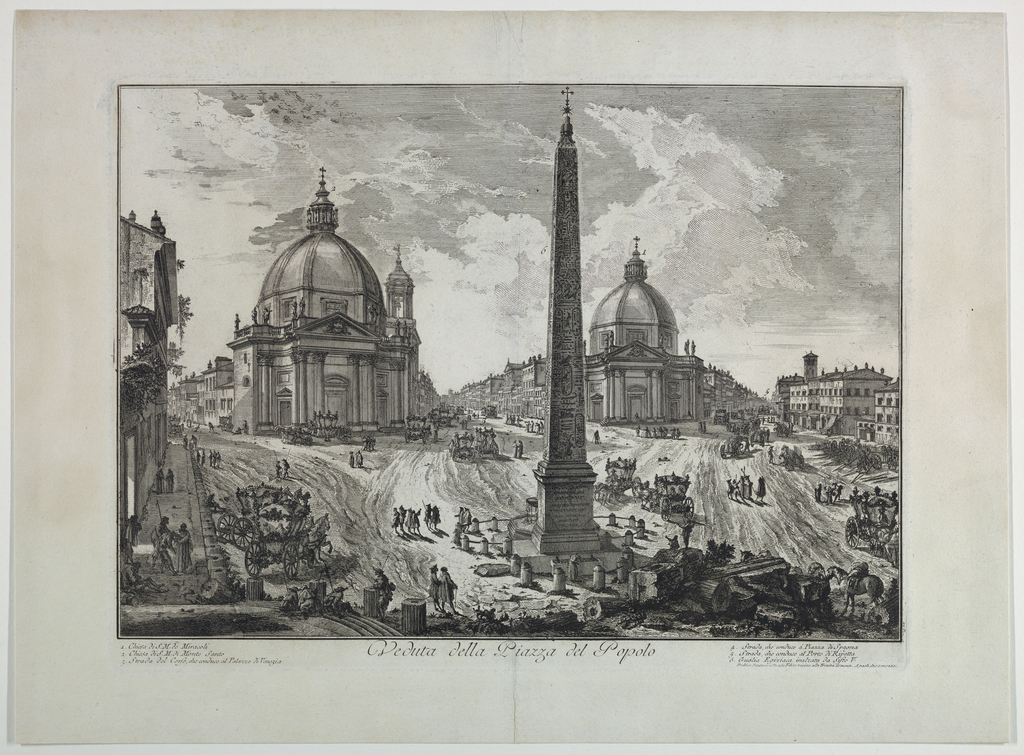 """Horizontal rectangle. View of the piazza, showing the three streets diverging from it. The Obelisk is in the foreground, and behind it, left, the church of S. M. in Monte Santo: right, S. M. De' Miracoli. Title in margin below, """"Vedute della Piazza del Popolo."""""""