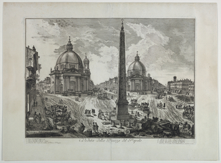 "Horizontal rectangle. View of the piazza, showing the three streets diverging from it. The Obelisk is in the foreground, and behind it, left, the church of S. M. in Monte Santo: right, S. M. De' Miracoli. Title in margin below, ""Vedute della Piazza del Popolo."""