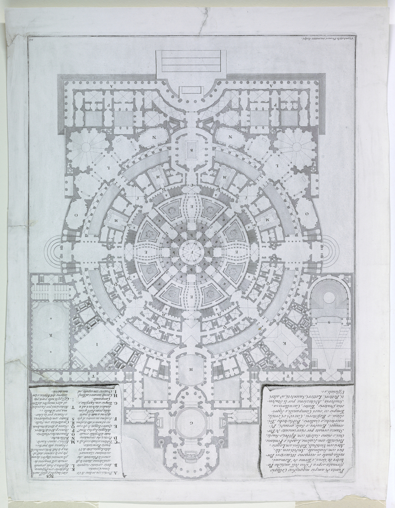 """Vertical rectangle. Plan of a large circular structure with radiating crilces and pavilions. Description, upper left; key, upper right. Inscribed, lower left: """"Giambattista Piranesi inventore scolpi."""" Plate 22 of the """"Opere varie di architettura prospettive ---""""  Focillon, vol.    II, P. 18, nO. 121 (22). Reprint"""