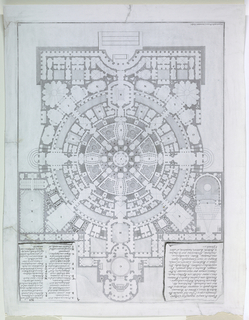 "Vertical rectangle. Plan of a large circular structure with radiating crilces and pavilions. Description, upper left; key, upper right. Inscribed, lower left: ""Giambattista Piranesi inventore scolpi."" Plate 22 of the ""Opere varie di architettura prospettive ---""