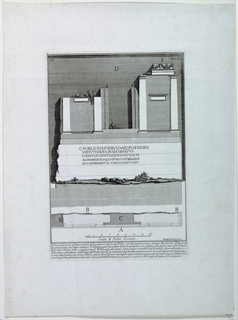 "Vertical Rectangle. Fragment of the facade of a Roman Building, Bearing the inscription: ""C. POBLICIO. L. F. BIBVLO..."" Below, scale, and six-line inscription. Inscribed, lower right : ""Piranesi Archit. Dis. et. inc.""
