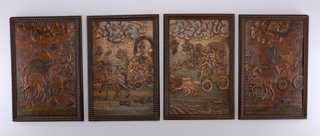 "Panel in gadrooned frame.  Female figure, swinging censer, seated in chariot drawn by two camels; in background, a battle scene against the backdrop of a hill town. At top right, labeled ""Asia""."