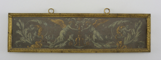 Slate plaque, rectangular, painted with green and ochre rinceau pattern, with winged figures flanking a tripod.