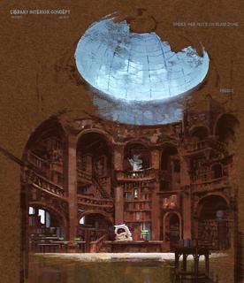 Concept Art, Library, Monsters University, 2013
