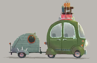 Concept Art, Wazowski Wagon, Monsters University, 2013