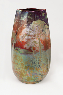 "Vase of tall ovoid section with ""pinched"" ends, painted and glazed with iridescent copper metal oxides in a landscape with trees, water and sun"