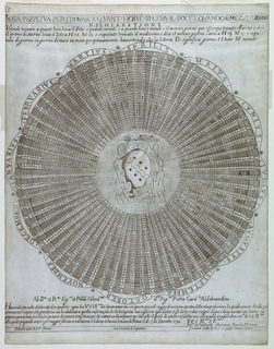 Circular table, with the arms of Cardinal Ippolito Aldobrandini in center. At top, title and description, and at bottom, dedication, date and author's and publisher's names.