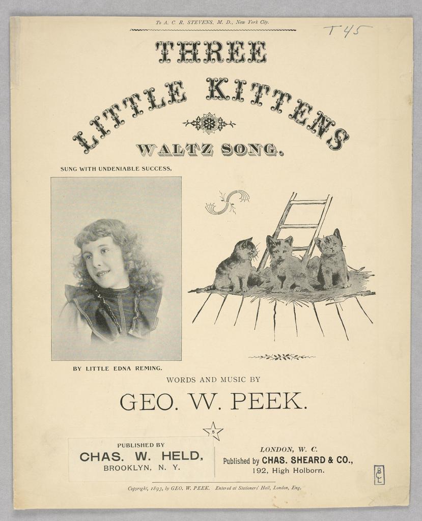 Sheet Music, Three Little Kittens, 1893