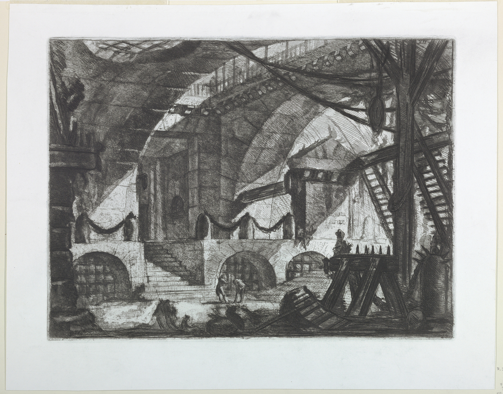 Horizontal rectangle. A low vaulted chamber, with torture instruments in the foreground and steps leading to a platform in the left background. Upper right, Calcografia number 360.