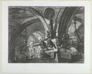 Horizontal rectangle. An enormous pier in the center foreground supports four vaults, pierced by a circular window at their junction. Stairways and galleries in the background. Upper center, Calcografia number 363.