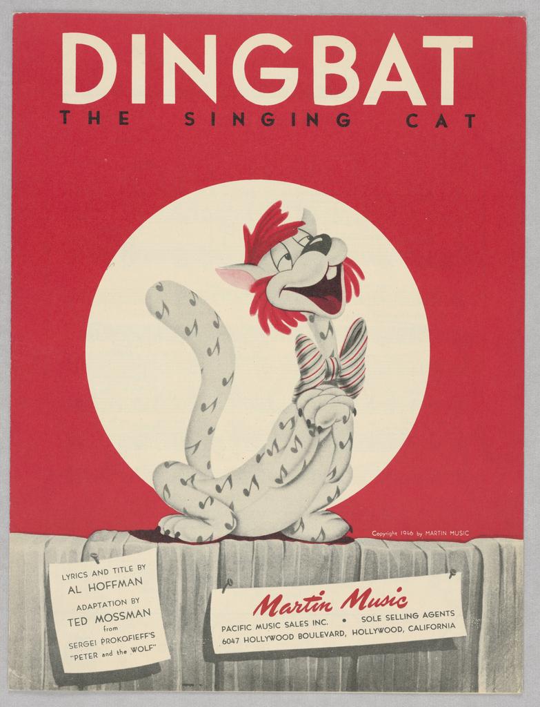 Sheet Music, Dingbat the Singing Cat, 1946