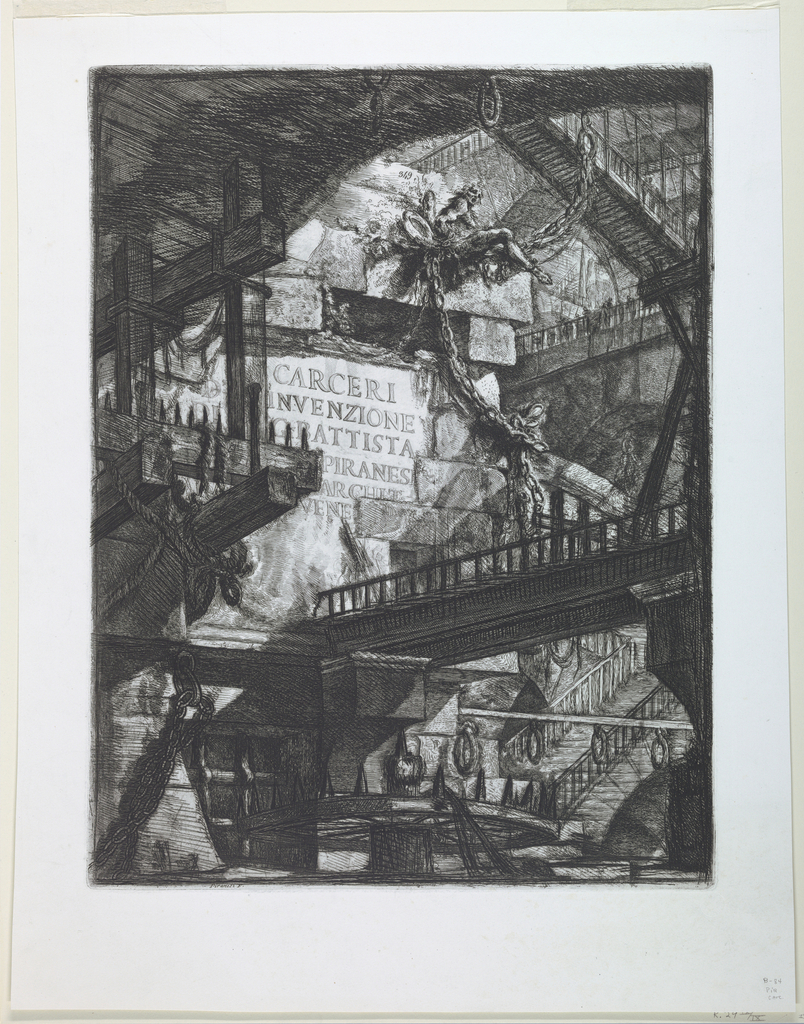 """Vertical Rectangle. Interior of a large stone chamber, spanned by bridges. Below a seated figure in chains, the title: """"CARCERI / INVENZIONE / G. BATTISTA / PIRANESI/ ARCIT. /VENE (ZIANO)"""". Above the seated figure, the Calcografia number 349."""