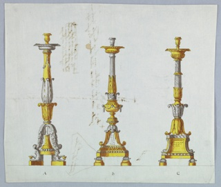 "Horizontal rectangle. Three designs for candlesticks labeled A, B,C from left to right. The inscription, ""Qui ci va, etc."" as written in 1938-88-624, appears in the pedestals of all three candlesticks. At left, candlestick A is supported by crouching lions carrying calyces. The pedestal is a richer variation of the one that appears in E in 1938-88-624. The shaft is  a foliated baluster above a calyx. At center, B is supported by tortoises upon knobs. The shaft has, below, a bowl in the two calyces; above, a fluted column. At left, C is also supported by tortoises. The shaft consists of a calyx in opposite direction, a capital, and of a column with a base, calyx, spiral flutes and scallops. Verso: plan of a base and inscriptions."