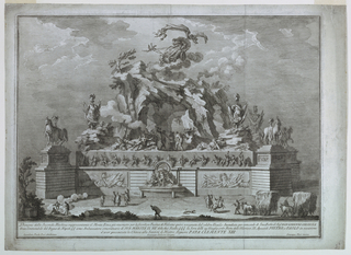 """Horizontal rectangle.  The mountain is surrounded by a wall with huge pedestals with statues of horses at the corners; a fountain is at center front, and above it, on the mount, is Vulcan's forge, with arms scattered about.  Aurora in a chariot on clouds above.  In the foreground, hay brought in tow ox-drawn carts; figures are standing about a fire.  Framing lines.  Bottom:  """"Disegno della Seconda Machina rappresentante il Monte Etna gia rinomato per la favolosa di Vulcano quivi assegnata dal Virgilio.  Incendiata...[like -141]...Sicilie S S S la Sera delli 29 Guigno 1767,"""" and similar -141.  Signed similar to -141."""
