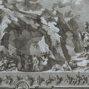 "Horizontal rectangle.  The mountain is surrounded by a wall with huge pedestals with statues of horses at the corners; a fountain is at center front, and above it, on the mount, is Vulcan's forge, with arms scattered about.  Aurora in a chariot on clouds above.  In the foreground, hay brought in tow ox-drawn carts; figures are standing about a fire.  Framing lines.  Bottom:  ""Disegno della Seconda Machina rappresentante il Monte Etna gia rinomato per la favolosa di Vulcano quivi assegnata dal Virgilio.  Incendiata...[like -141]...Sicilie S S S la Sera delli 29 Guigno 1767,"" and similar -141.  Signed similar to -141."