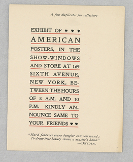Card, An Exhibition of American Posters...