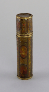 Cylindrical case with tortoise shell interior.