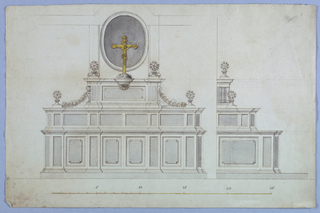 Measured elevation with alternative suggestions. Front and side view shown. At top, a crucifix in yellow watercolor.