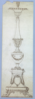 At base are lion's feet terminating in acanthus leaves. The base is octagonal. At the front is an oval medallion with festoons and a bow knot. The lower part of the shaft is an urn standing upon acanthus. The upper part is a baluster rising above a calyx. On top is a bossed bowl and a socket.