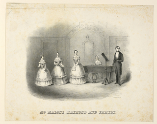 "Horizontal rectangle. Vignette view of stage. A woman seated at a pianoforte and three others standing at left, all in similar costumes. Malone Raymond stands before a music-stand at right. Caption: ""Mr. Malone Raymond and Family."" At lower right: ""J. H. Bufford's lith."""