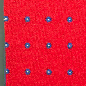 Warp-faced twill in red with supplementary warp patterning used to create blue dots with white centers. Number 344.