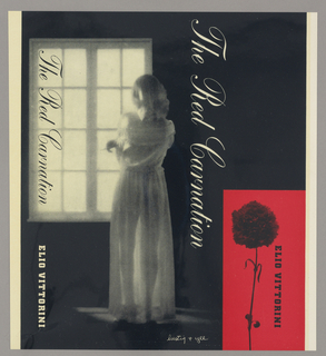 Front cover of book. Left: young woman looking out window; lower right: red rectangle with black printed rose.