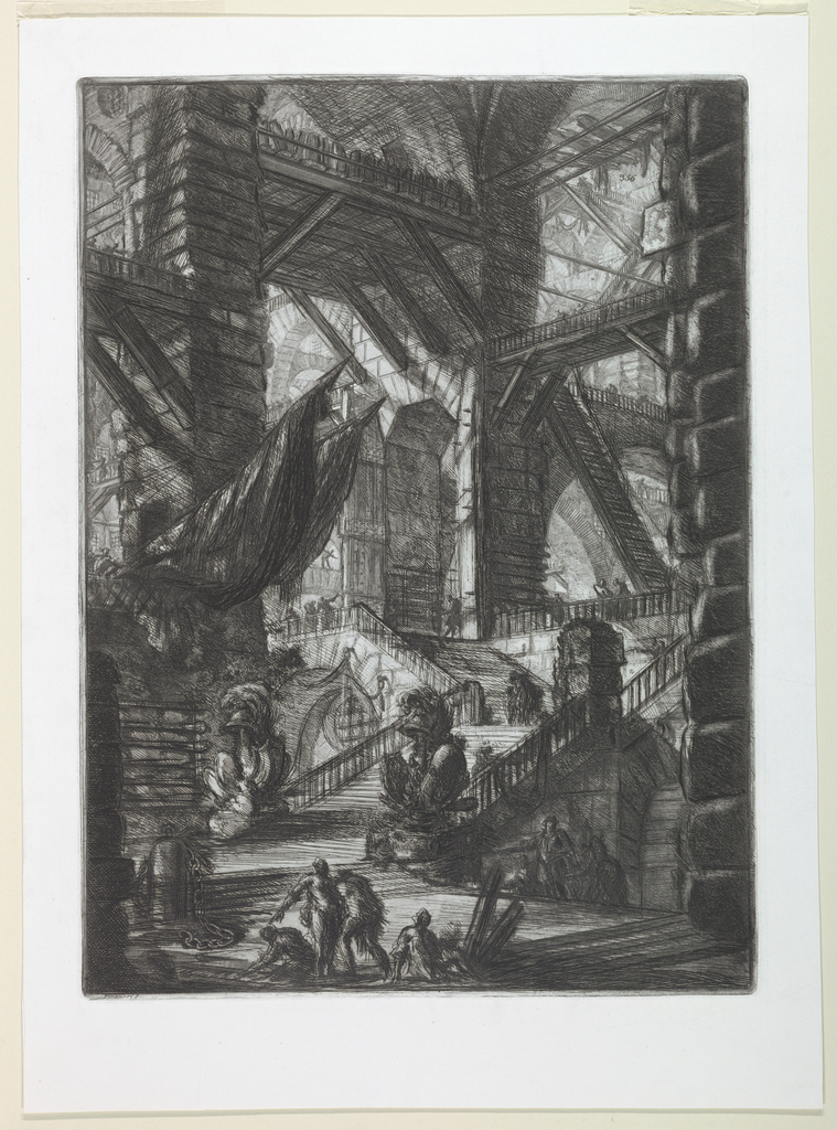 Vertical rectangle. Piers separate large arcades, spanned by wooden bridges, and a broad staircase rises in the center middle distance. Four figures in the left center foreground. Upper right, Calcografia number 356.