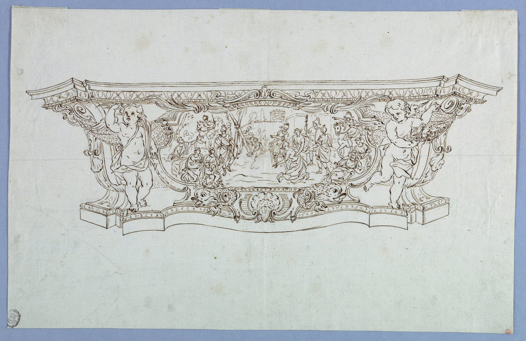 Design for an elongated pedestal, possibly as a component of another piece of furniture. At left and right, two winged putti figures. Within central cartouche, a figural scene, perhaps Biblical, depicting a man about to be Crucified and a crowd of onlookers.