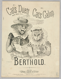 Sheet Music, Cat's Duett and Cat's Galop, Music by Berthold, 1872