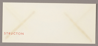 Envelope with name of enterprise printed in orange ink at lower left.