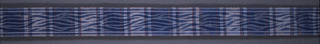 Ribbon in a plaid pattern of blue, white and red with wavy blue and white lines created by warp printing process.