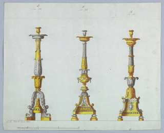"""Horizontal rectangle. Three designs for candlesticks with the coat of arms of Cardinal Braschi. At left, the base supported by lions carrying pomegranates. At center and right, base supported by tortoises. The upper parts of candlesticks """"B"""" and """"C"""" from 1938-88-626 are preserved in these designs. Scale at lower left."""