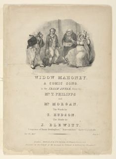 Sheet Music, Widow Mahoney, A Comic Song, in the Irish Style, 1850