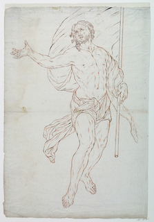 Contour drawing of Christ holding a white banner.