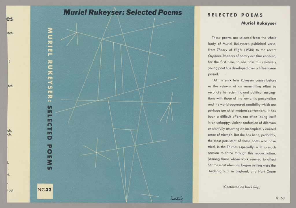 Book cover. Front cover: blue background with various white lines, printed black text; side: blue background with printed black and white text; inside flap: white background with black text.
