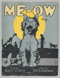 On front cover, a cat meowing before a full moon. In the background, silhouettes of four other cats.