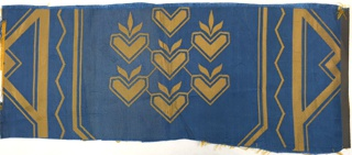 Damask fabric woven in blue and gold with cluster of nine hearts enclosed within angular diaper framework. Full pattern contains symbolic motifs of anchors of faith, growing wheat of hope, and hearts of charity.