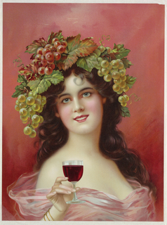 Vertical rectangle. Woman with long dark hair crowned with bunches of grapes, holds a glass of red wine.