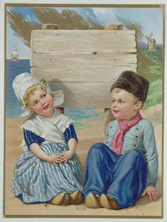 Vertical rectangle. Dutch girl and boy sitting on a beach in front of a wooden signboard. Sailboat and windmill in background.